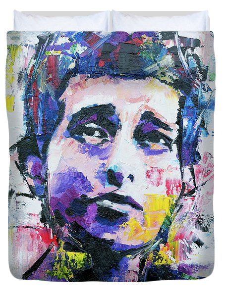 Bob Dylan Portrait Duvet Cover by Richard Day