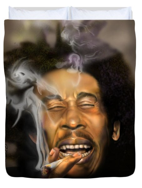 Bob Marley-Burning Lights 3 Duvet Cover by Reggie Duffie