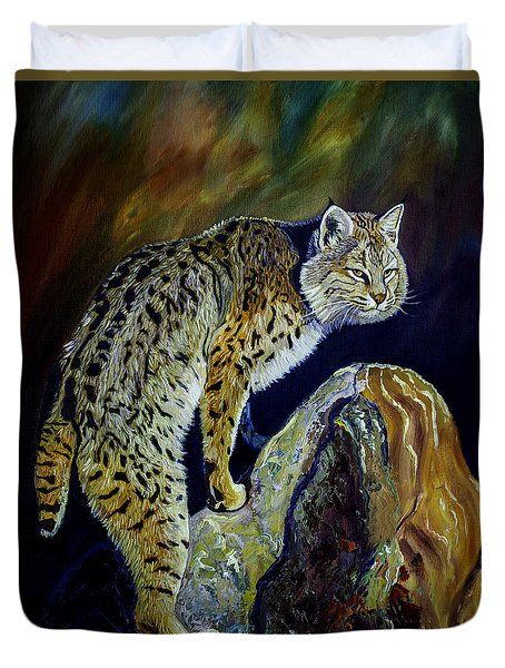 Bobcat At Sunset Original Oil Painting 16x20x1 Inch On Gallery Canvas Duvet Cover by Manuel Lopez