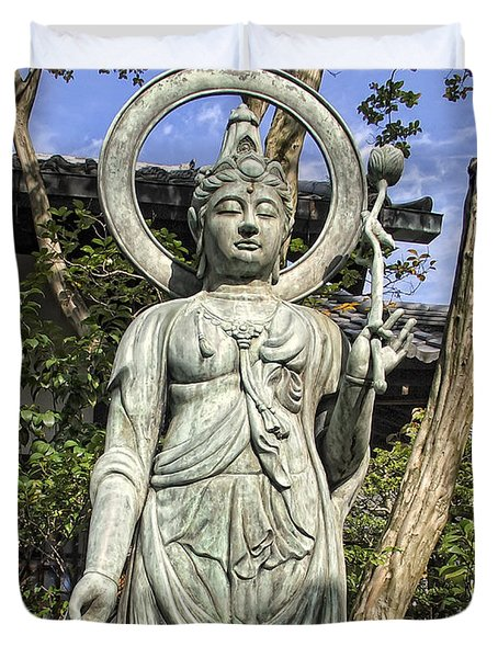 Boddhisattva Buddhist Deity - Kyoto Japan Duvet Cover by Daniel Hagerman
