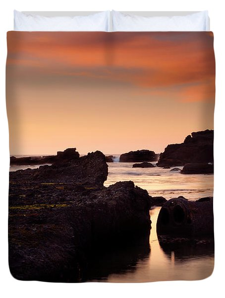 Boiler Bay Sunset Duvet Cover by Mike  Dawson
