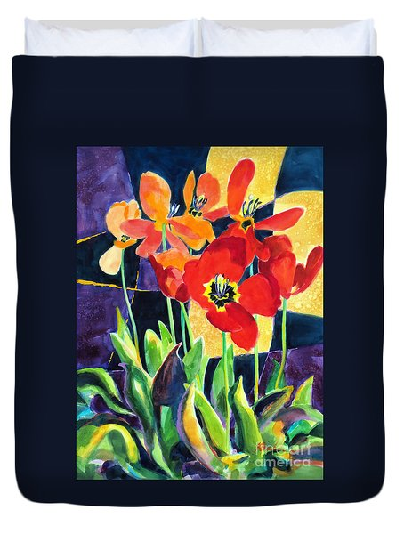 Bold Quilted Tulips Duvet Cover by Kathy Braud