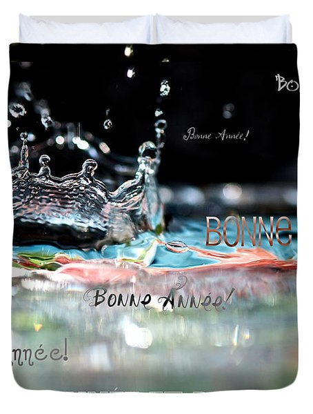 Bonne Annee Card Duvet Cover by Lisa Knechtel