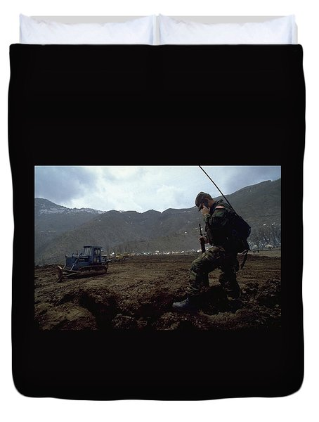 Duvet Cover featuring the photograph Boots On The Ground by Travel Pics