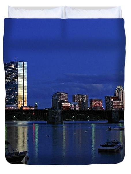 Boston City Lights Duvet Cover by Juergen Roth