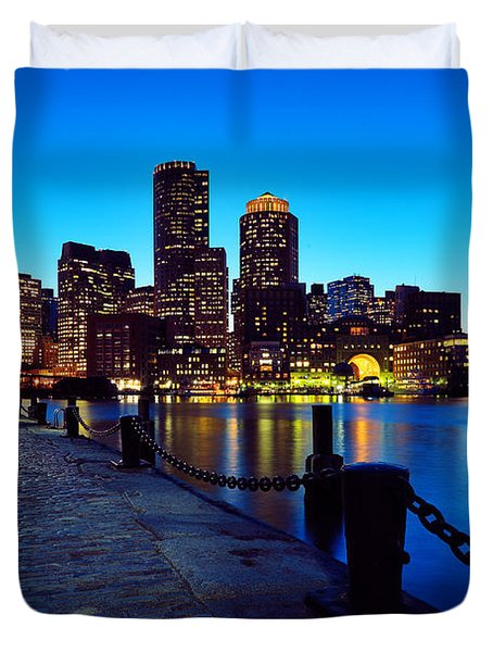 Boston Harbor Walk Duvet Cover by Rick Berk