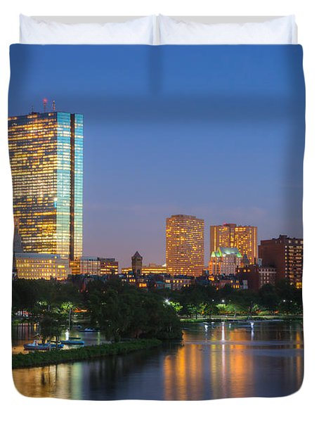 Boston Night Skyline II Duvet Cover by Clarence Holmes