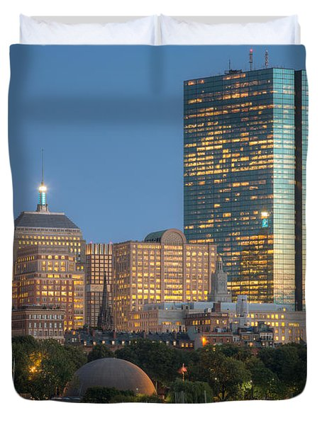 Boston Night Skyline IV Duvet Cover by Clarence Holmes
