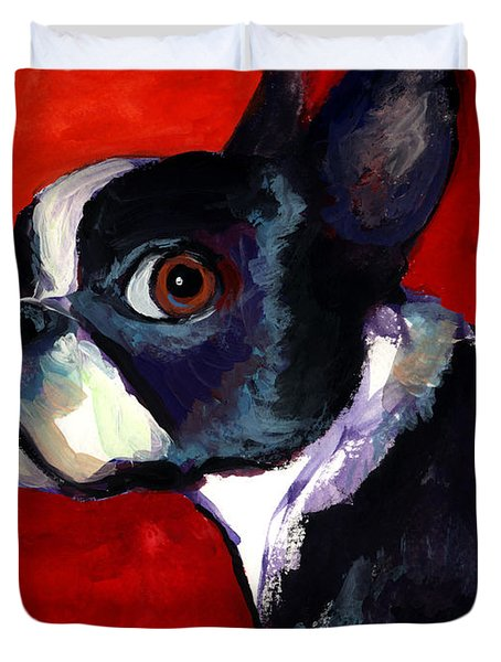 Boston Terrier Dog Portrait 2 Duvet Cover by Svetlana Novikova