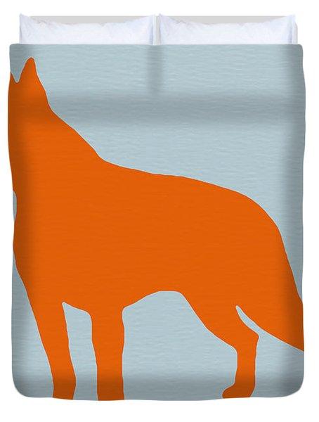 Boston Terrier Orange Duvet Cover by Naxart Studio