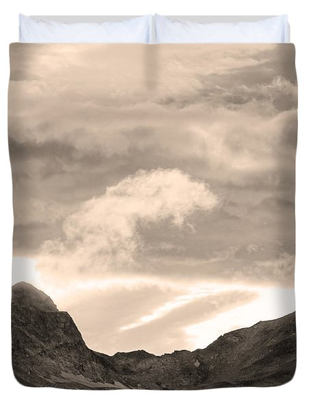 Boulder County Indian Peaks Sepia Image Duvet Cover by James BO  Insogna