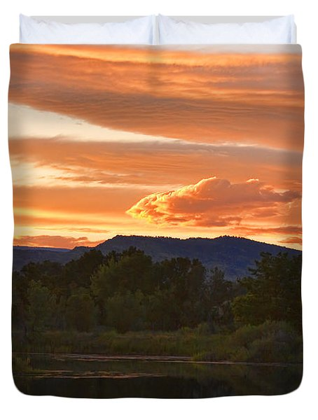 Boulder County Lake Sunset Vertical Image 06.26.2010 Duvet Cover by James BO  Insogna