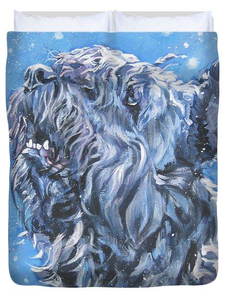 Bouvier Des Flandres snow Duvet Cover by Lee Ann Shepard