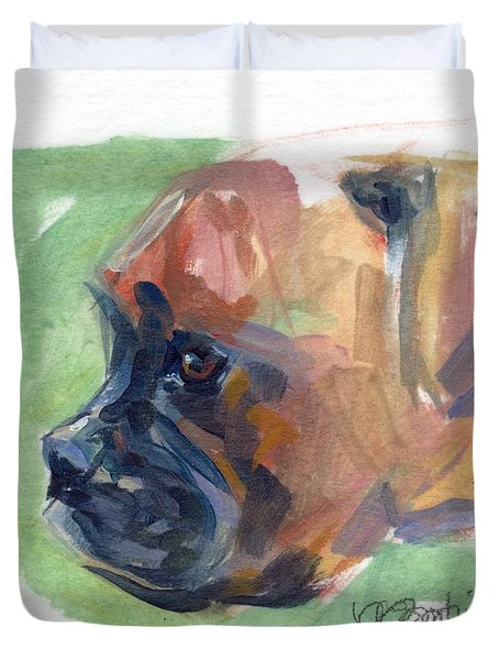 Boxer Pup Duvet Cover by Kimberly Santini