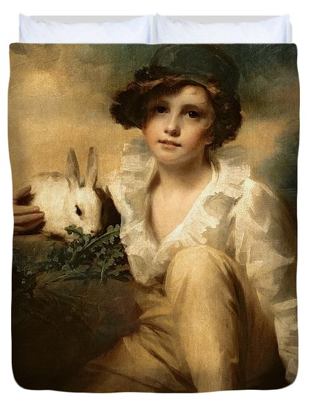 Boy And Rabbit Duvet Cover by Sir Henry Raeburn
