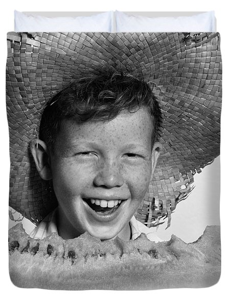 Boy Eating Watermelon, C.1940-50s Duvet Cover by H. Armstrong Roberts/ClassicStock