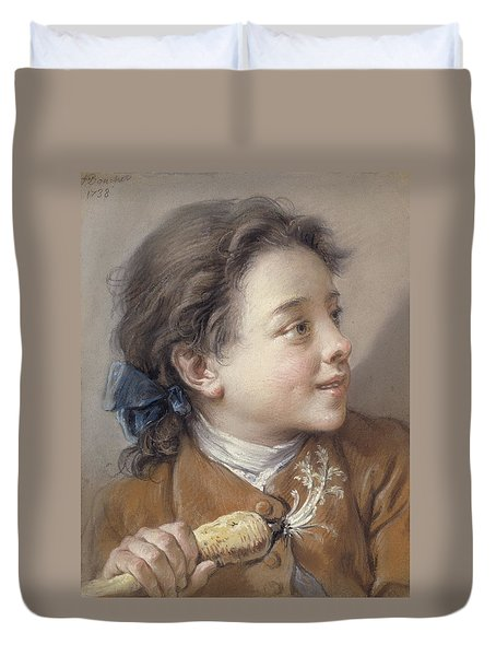 Boy With A Carrot, 1738 Duvet Cover by Francois Boucher