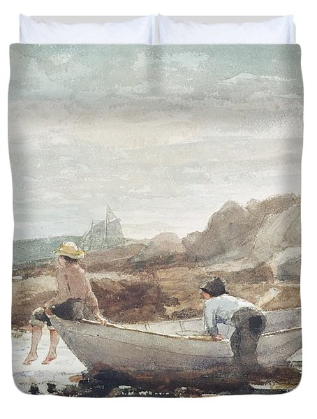 Boys On The Beach Duvet Cover by Winslow Homer