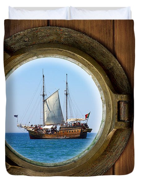 Brass Porthole Duvet Cover by Carlos Caetano