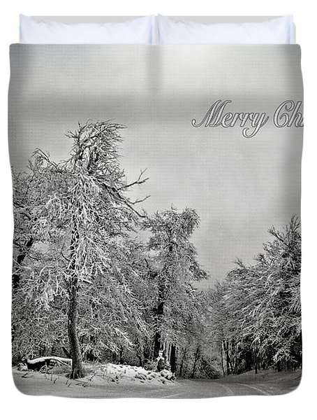 Break In The Storm Christmas Card Duvet Cover by Lois Bryan