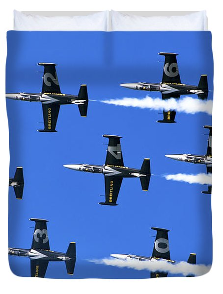 Breitling Air Display Team L-39 Albatross Duvet Cover by Nir Ben-Yosef