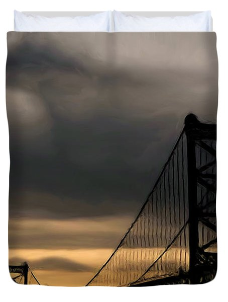 Bridge In Oil Duvet Cover by Thomas  MacPherson Jr