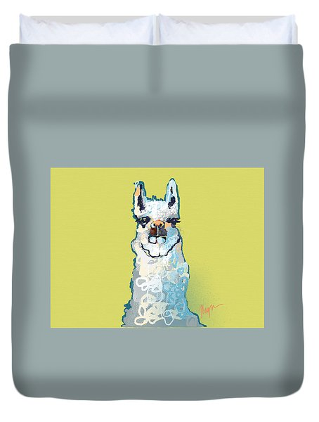 Bright Mustard Llama Duvet Cover by Niya Christine