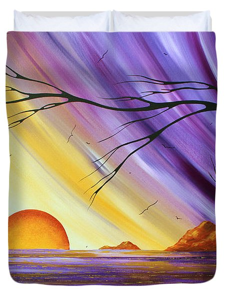Brilliant Purple Golden Yellow Huge Abstract Surreal Tree Ocean Painting Royal Sunset By Madart Duvet Cover by Megan Duncanson