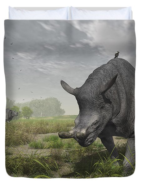 Brontotherium Wander The Lush Late Duvet Cover by Walter Myers