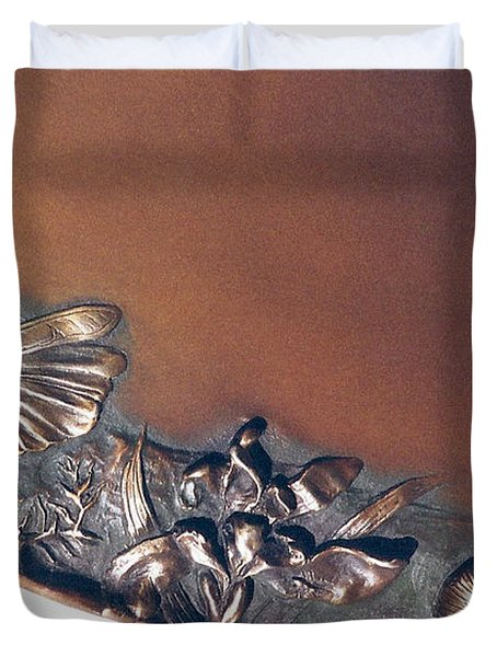 Bronze Tray Detail With Locust Duvet Cover by Dawn Senior-Trask