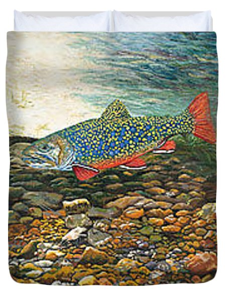 Brook Trout Art Fish Art Nature Wildlife Underwater Duvet Cover by Baslee Troutman