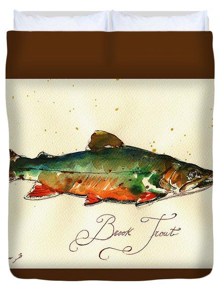 Brook Trout Art Duvet Cover by Juan  Bosco