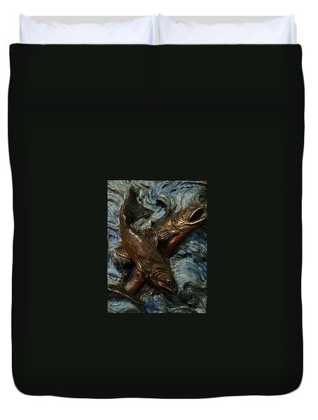 Brook Trout Duvet Cover by Dawn Senior-Trask