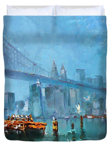 Brooklyn Bridge Duvet Cover by Ylli Haruni