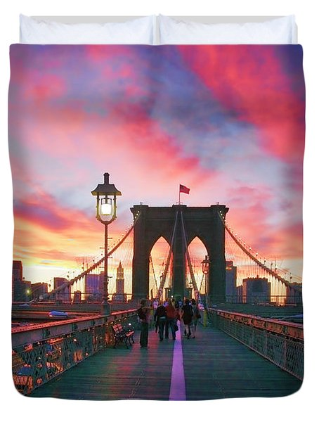 Brooklyn Sunset Duvet Cover by Rick Berk