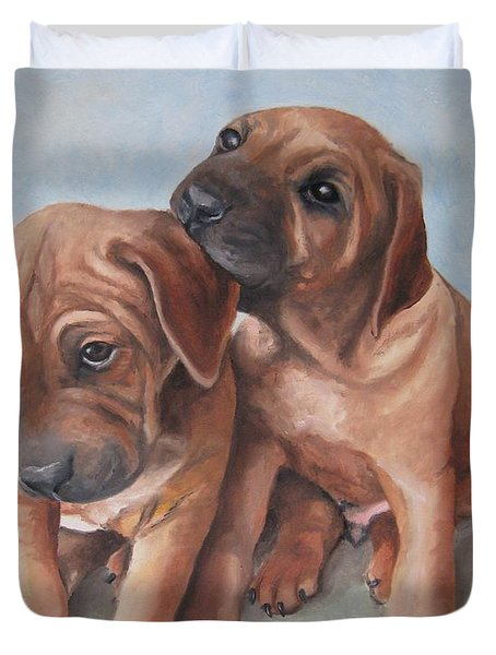 Brothers Duvet Cover by Jindra Noewi