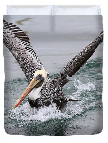 Brown Pelican Landing On Water . 7D8372 Duvet Cover by Wingsdomain Art and Photography