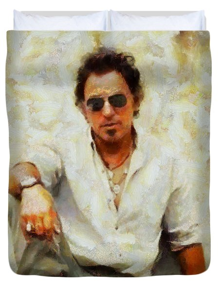 Bruce Springsteen Duvet Cover by Elizabeth Coats