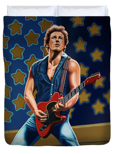 Bruce Springsteen The Boss Painting Duvet Cover by Paul Meijering