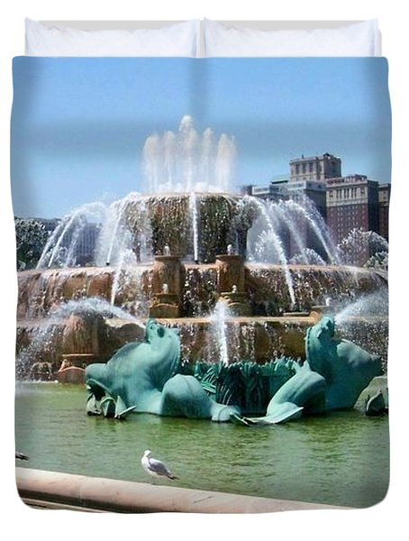 Buckingham Fountain Duvet Cover by Anita Burgermeister