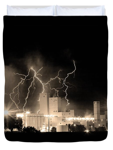 Budweiser Lightning Thunderstorm Moving Out Bw Sepia Crop Duvet Cover by James BO  Insogna
