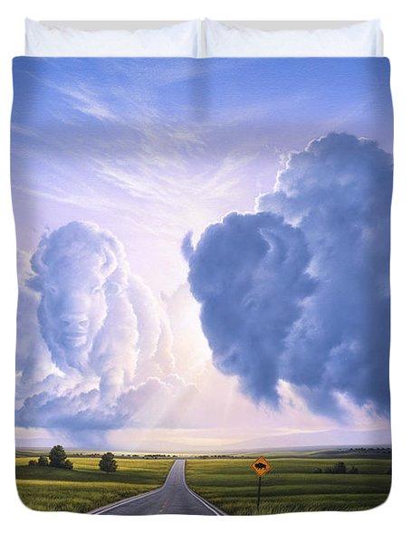 Buffalo Crossing Duvet Cover by Jerry LoFaro