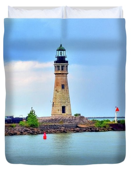 Buffalo Lighthouse Duvet Cover by Kathleen Struckle