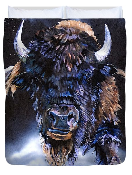 Buffalo Medicine Duvet Cover by J W Baker
