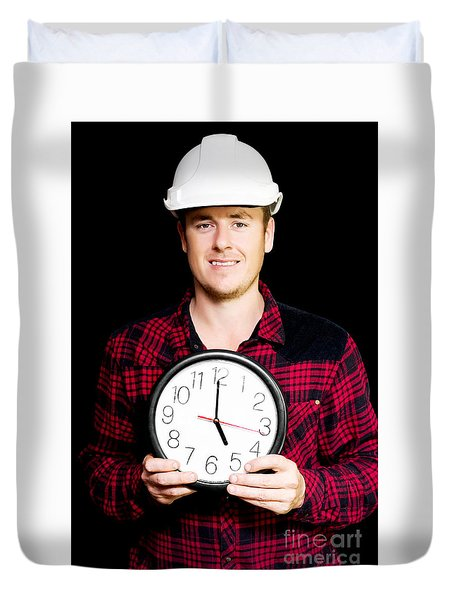 Builder With Clock Showing Home Time Duvet Cover by Jorgo Photography - Wall Art Gallery