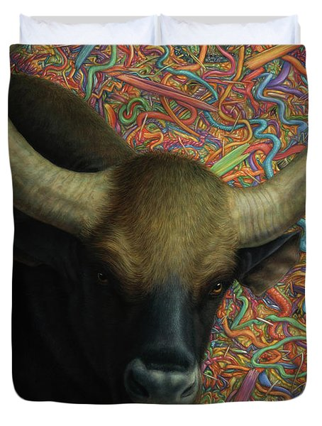 Bull In A Plastic Shop Duvet Cover by James W Johnson