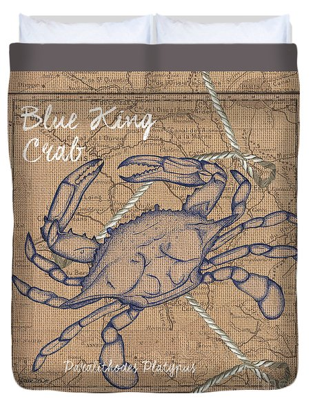 Burlap Blue Crab Duvet Cover by Debbie DeWitt