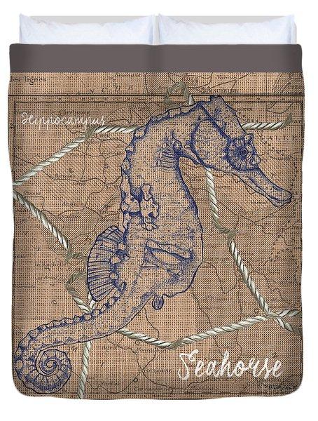 Burlap Seahorse Duvet Cover by Debbie DeWitt