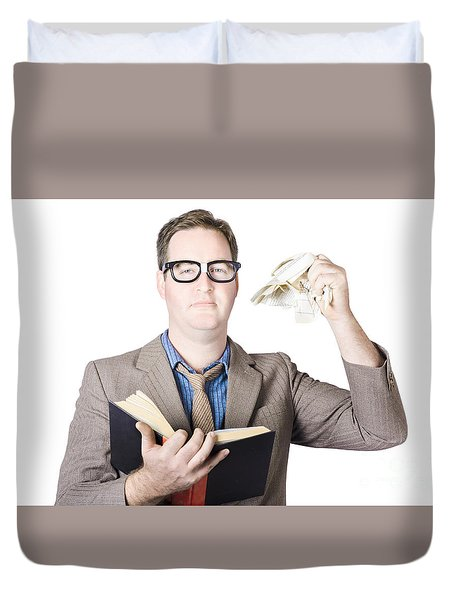 Businessman Tearing Pages From Book Duvet Cover by Jorgo Photography - Wall Art Gallery