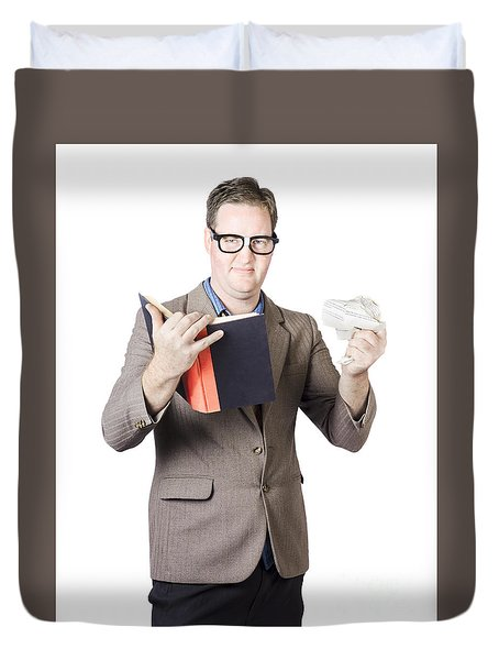 Businessman With Book And Crumpled Paper Duvet Cover by Jorgo Photography - Wall Art Gallery